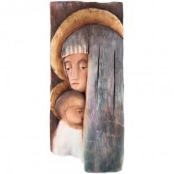 OBRAZ PŁASKORZEŹBA IKONA W DREWNIE MARIA