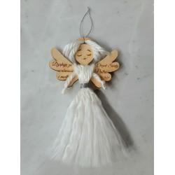 Aniołek jako podziękowanie dla gości makrama chrzest