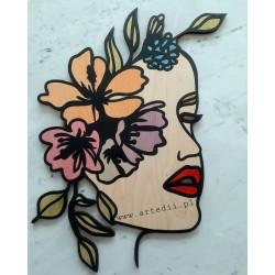 Dekor ścienny kobieta z kwiatami ozdoba obraz