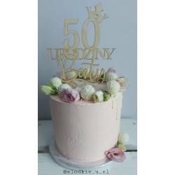 Topper urodzinowy korona dowolna cyfra i imię