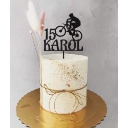 Topper urodzinowy z rowerem dowolna cyfra i imię